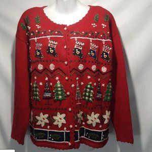 Tiara Applique Winter Christmas Ugly Cardigan M/L